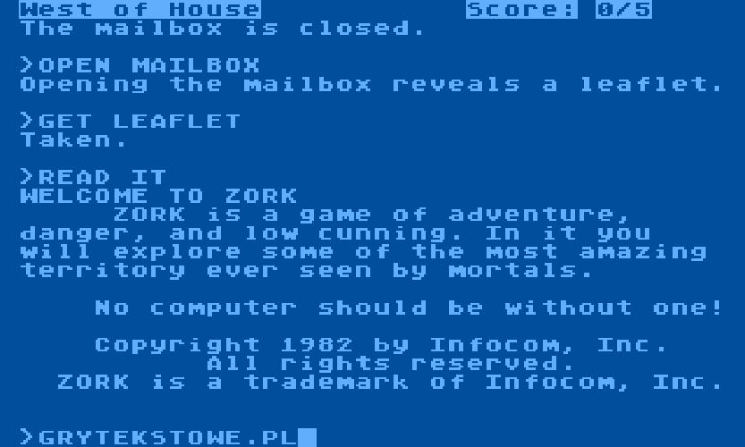 Zork I | text games